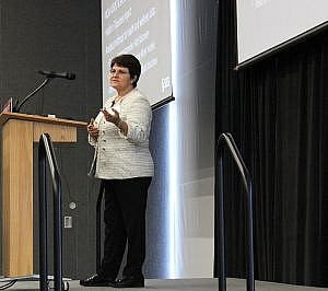 Dr. Gul Ege, Senior Director of Advanced Analytics R&D at the SAS Institute, delivers the Keynote address.